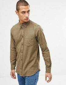 フレンチコネクション メンズ シャツ トップス French Connection Plain Flannel Shirt Khaki