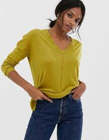 ウエアハウス レディース ニット・セーター アウター Warehouse v neck longline sweater Mustard
