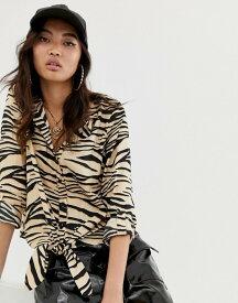 リバーアイランド レディース シャツ トップス River Island shirt with tie front in animal print Zebra non print