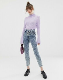 エイソス レディース デニムパンツ ボトムス ASOS DESIGN Farleigh slim mom jeans with diamonte double belt detail in acid wash Acid wash