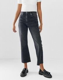 エイソス レディース デニムパンツ ボトムス ASOS DESIGN Egerton rigid cropped flare jeans in washed black with zip fly detail Washed black
