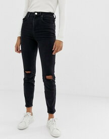 エイソス レディース デニムパンツ ボトムス ASOS DESIGN Farleigh slim mom jeans in washed black with busted knees Washed black