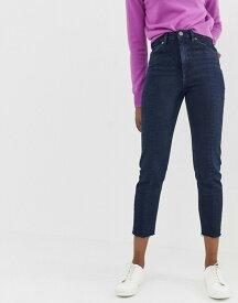エイソス レディース デニムパンツ ボトムス ASOS DESIGN Recycled Farleigh high waist slim mom jeans in dark wash blue with front seam detail Dark wash blue