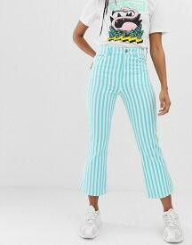 エイソス レディース デニムパンツ ボトムス ASOS DESIGN Egerton crop kick flare jeans in printed turquoise stripe Multi