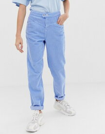 エイソス レディース デニムパンツ ボトムス ASOS DESIGN Ritson rigid mom jeans with drop yoke in cornflower blue varigated cord Cornflower