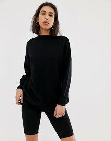 マンゴ レディース ニット・セーター アウター Mango double faced crew neck sweater in Black Black