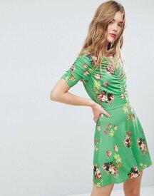 エイソス レディース ワンピース トップス ASOS Mini Tea Dress with Rouching Detail in Green Floral Print Green floral