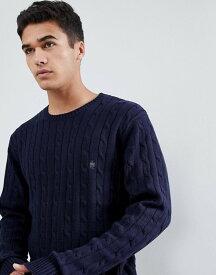 フレンチコネクション メンズ ニット・セーター アウター French Connection 100% Cotton Logo Cable Knit Sweater Marine