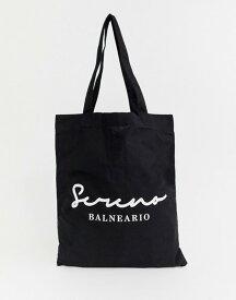 エイソス メンズ トートバッグ バッグ ASOS DESIGN organic tote bag in black with serena text print Black
