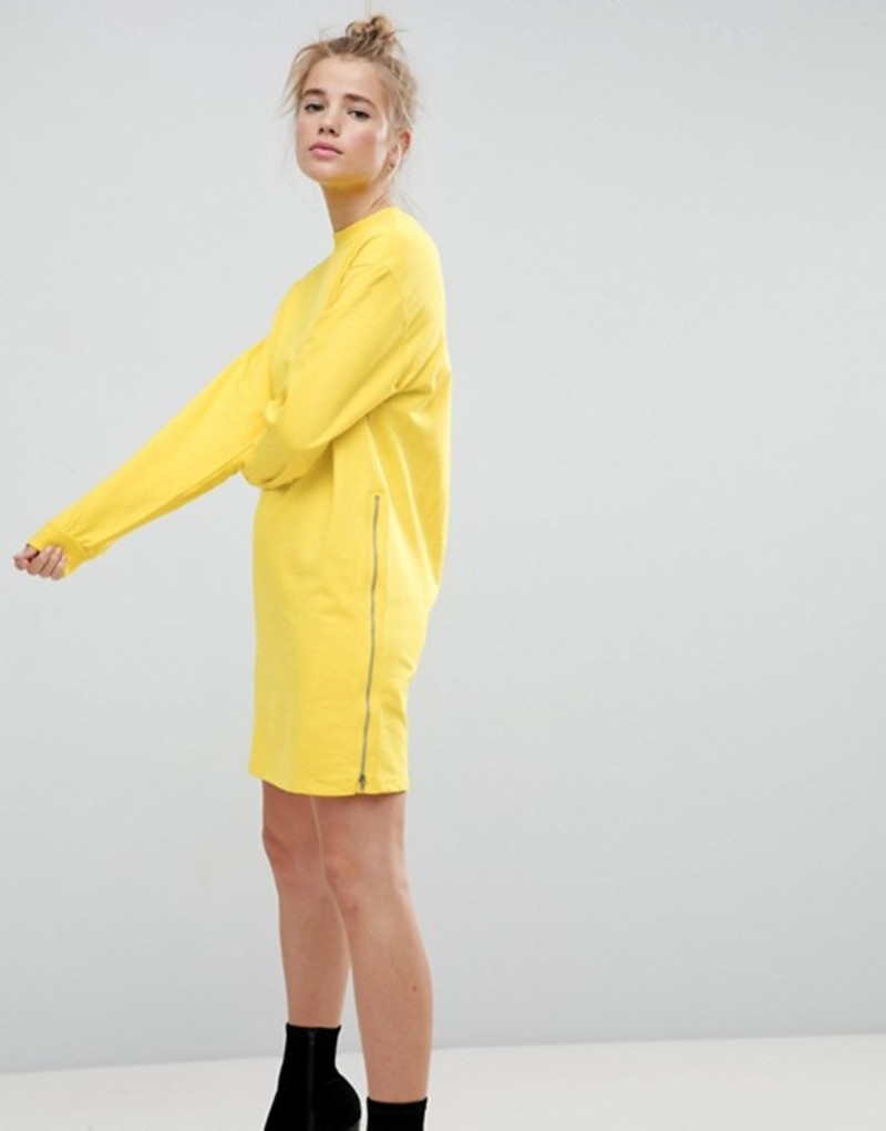 エイソス レディース ワンピース トップス ASOS Oversized Sweat Dress with Zip Detail Canary yellow