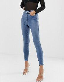 エイソス レディース デニムパンツ ボトムス ASOS DESIGN 'Sculpt me' high waisted premium jeans in light vintage wash blue Light wash blue