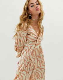 エイソス レディース ワンピース トップス ASOS DESIGN knot front midi dress in natural zebra print Zebra print