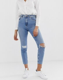 エイソス レディース デニムパンツ ボトムス ASOS DESIGN Farleigh high waist slim mom jeans in light vintage wash with busted knee and rip & repair detail Light wash blue