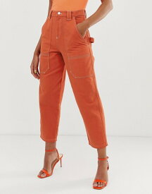 エイソス レディース デニムパンツ ボトムス ASOS DESIGN carpenter boyfriend jeans in orange with contrast stitch detail Orange