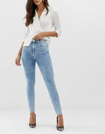 エイソス レディース デニムパンツ ボトムス ASOS DESIGN Ridley high waist skinny jeans in 80's acid wash Blue