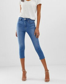 エイソス レディース デニムパンツ ボトムス ASOS DESIGN Ridley high waist cropped skinny jeans in bright mid blue wash Bright blue wash