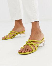 エイソス レディース サンダル シューズ ASOS DESIGN Hawaii strappy block heeled sandals Chartreuse