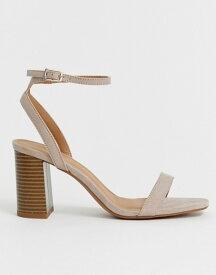 エイソス レディース サンダル シューズ ASOS DESIGN Hong Kong barely there block heeled sandals Taupe