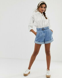 エイソス レディース デニムパンツ ボトムス ASOS DESIGN denim shorts with belt detail Blue