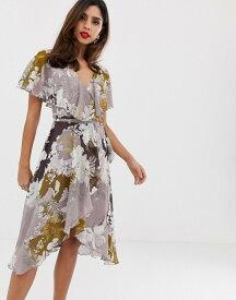 エイソス レディース ワンピース トップス ASOS DESIGN midi dress with cape back and dipped hem in patchwork floral Floral print