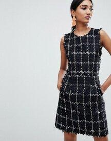 ウエアハウス レディース ワンピース トップス Warehouse shift dress with raw edge in black tweed Black