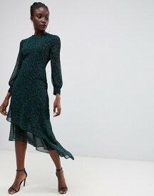 ウエアハウス レディース ワンピース トップス Warehouse midi dress with asymmetric hem in green leopard print Green pattern