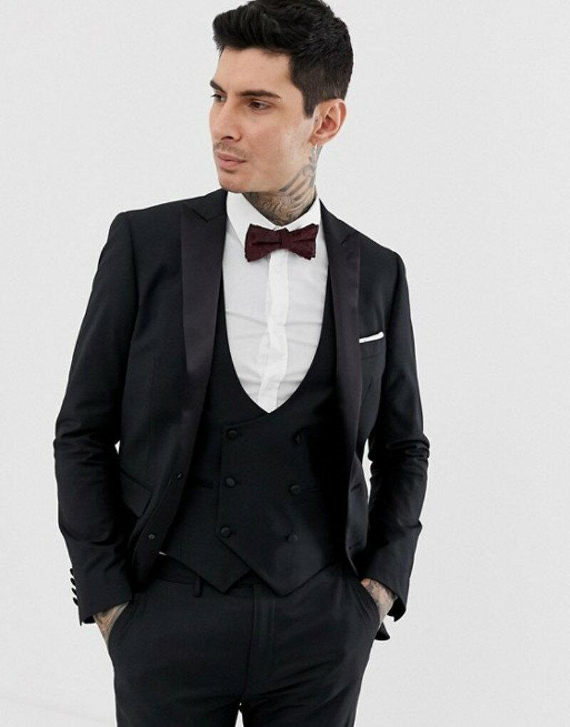 デビルズ アドボケート メンズ ジャケット・ブルゾン アウター Devils Advocate skinny fit tuxedo suit jacket Black
