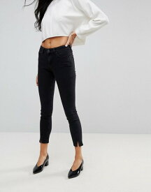 エイソス レディース デニムパンツ ボトムス ASOS LISBON Skinny Mid Rise Jeans with Twisted Seams in Washed Black Washed black