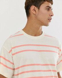 ニュールック メンズ Tシャツ トップス New Look oversized stripe t-shirt in ecru Mid pink