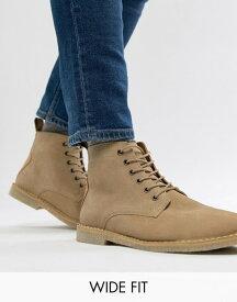 エイソス メンズ ブーツ・レインブーツ シューズ ASOS DESIGN Wide Fit desert boots in stone suede with leather detail Stone