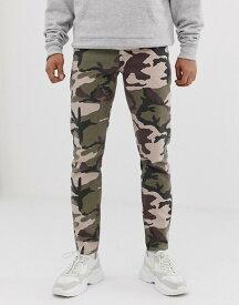 エイソス メンズ デニムパンツ ボトムス ASOS DESIGN slim jeans in camo print Green