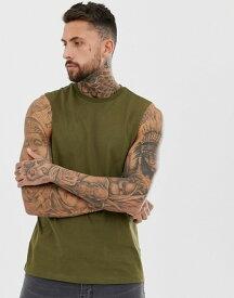 エイソス メンズ Tシャツ トップス ASOS DESIGN organic relaxed sleeveless t-shirt with dropped armhole in khaki Dark olive
