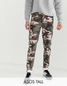 エイソス メンズ デニムパンツ ボトムス ASOS DESIGN Tall slim jeans in camo print Green
