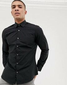フレンチコネクション メンズ シャツ トップス French Connection plain poplin slim fit shirt Black