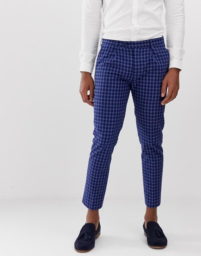 デビルズ アドボケート メンズ カジュアルパンツ ボトムス Devils Advocate navy linen blend cropped pleated pants Navy