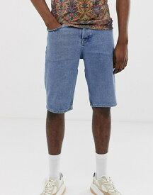 エイソス メンズ ハーフパンツ・ショーツ ボトムス ASOS DESIGN Tall denim shorts in slim mid wash blue Mid wash blue