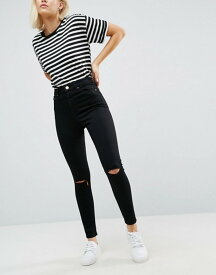 エイソス レディース デニムパンツ ボトムス ASOS RIDLEY High Waist Skinny Jean In Clean Black With Ripped Knees Black