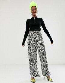 エイソス レディース カジュアルパンツ ボトムス ASOS DESIGN zebra suit wide leg suit pants Zebra