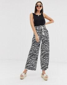 エイソス レディース カジュアルパンツ ボトムス ASOS DESIGN textured wide leg pants with paperbag waist and rope belt in zebra print Multi