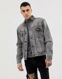 オールセインツ メンズ ジャケット・ブルゾン アウター AllSaints denim jacket in washed black Black