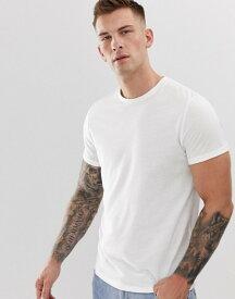 エイソス メンズ Tシャツ トップス ASOS DESIGN recycled t-shirt with crew neck and roll sleeve in white White