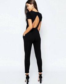 エイソス レディース ワンピース トップス ASOS Wrap Front Jersey Jumpsuit with Short Sleeve Black