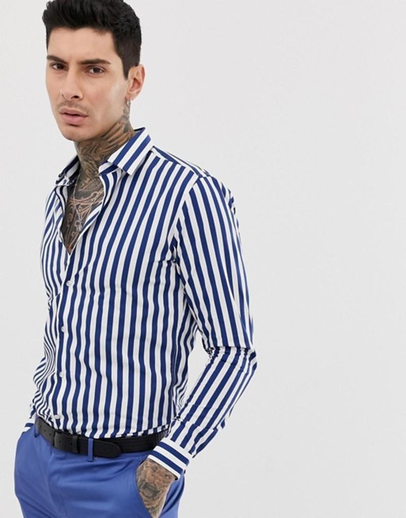 デビルズ アドボケート メンズ シャツ トップス Devils Advocate slim fit cotton stripe long sleeve shirt Navy