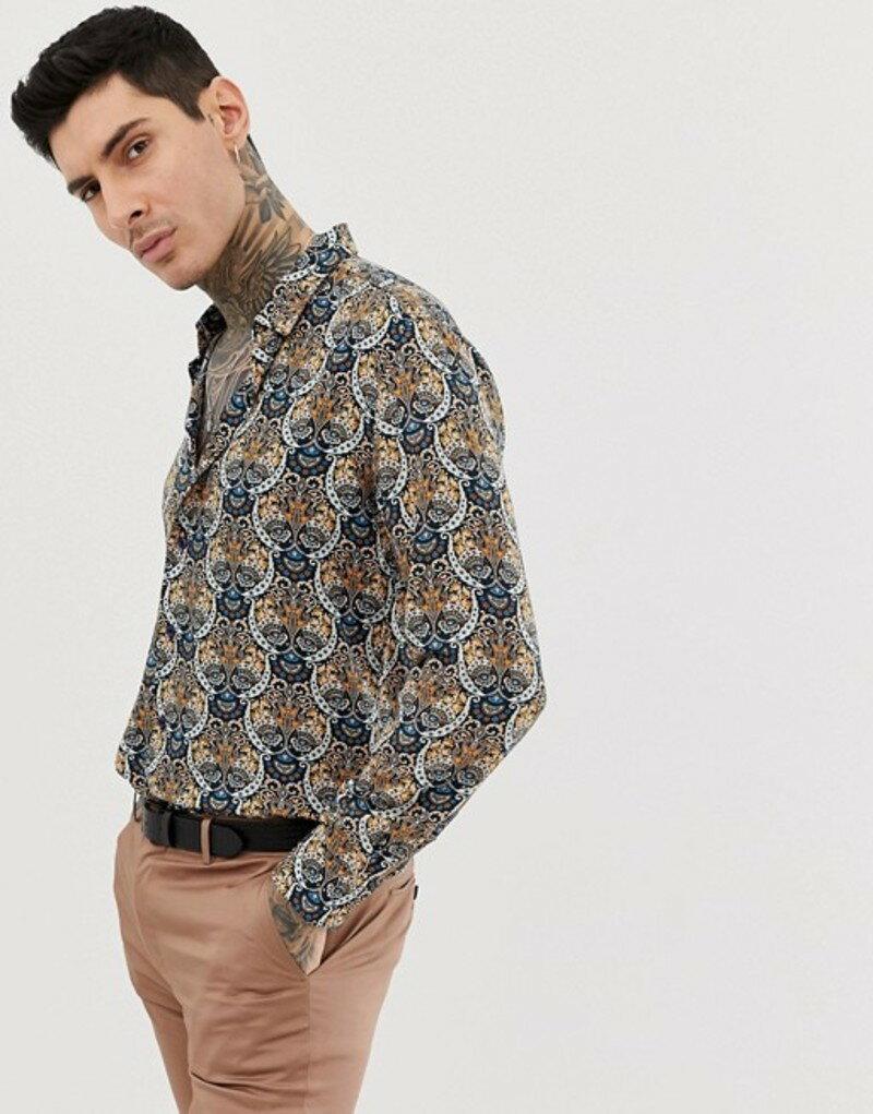 デビルズ アドボケート メンズ シャツ トップス Devils Advocate slim fit viscose print soft long sleeve shirt Brown