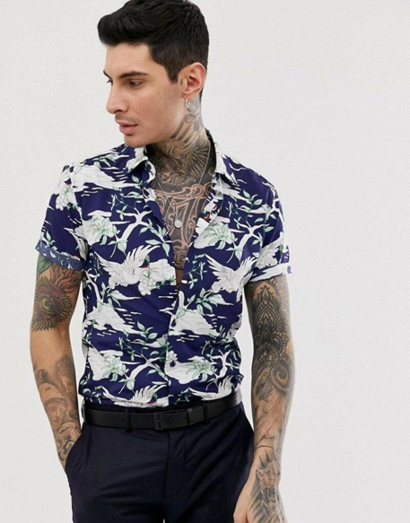 デビルズ アドボケート メンズ シャツ トップス Devils Advocate slim fit cotton short sleeve print short sleeve shirt Navy