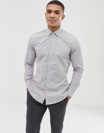 フレンチコネクション メンズ シャツ トップス French Connection plain poplin slim fit shirt Grey