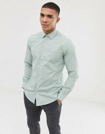 フレンチコネクション メンズ シャツ トップス French Connection plain poplin slim fit shirt Green