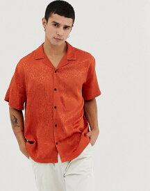 エイソス メンズ シャツ トップス ASOS DESIGN oversized leopard jacquard shirt in orange with revere collar Orange