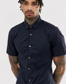 フレンチコネクション メンズ シャツ トップス French Connection plain stretch short sleeve shirt Navy
