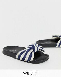 トリュフコレクション レディース サンダル シューズ Truffle Collection wide fit bow slides Navy/white